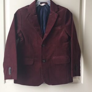 Boys Burgundy Red Faux Suede Blazer Jacket